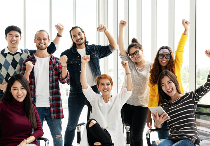 Group of Diversity People Team smiling and cheerful in success work at modern office. Creative Multiethnic teamwork feeling happy, enjoy and engaged with achievement project with group shot concept.